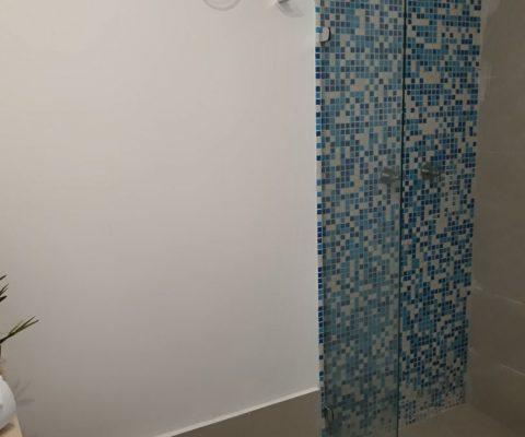 vista parcial de baño con sanitario y ducha con división en vidrio y enchape de azulejos en tonos de azul