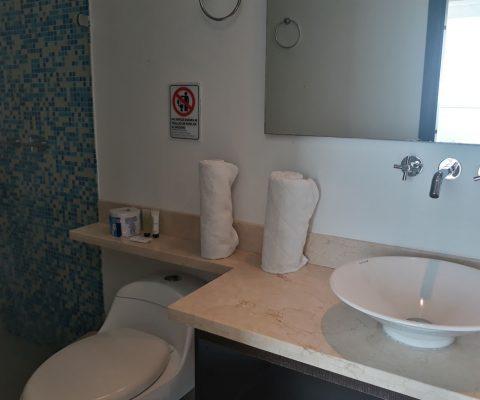 baño con lavamanos de sobreponer de porcelana, encimera en piedra, sanitario tradicional y ducha enchapada en color azul