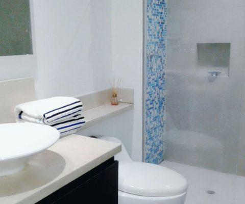 baño color blanco, con division de bañera en vidrio y ducha conn azulejos de diferentes tonalidades lavamanos color blanco