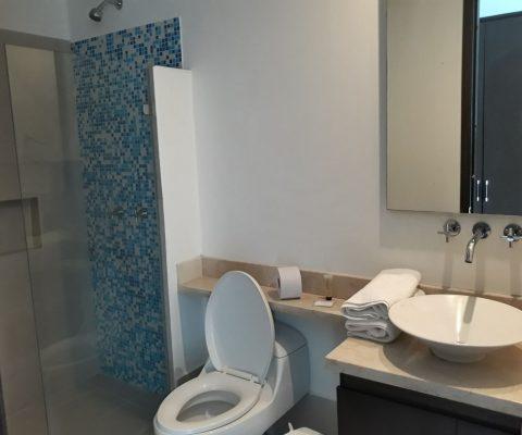 baño con lavamanos de sobreponer en porcelana y grifería moderna, encimera de piedra y ducha enchapada en tonos azules