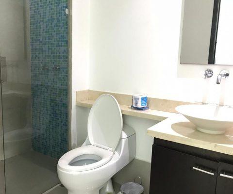baño con meson sintetico color beige, lavamanos colgante y separador de ducha en vidrio