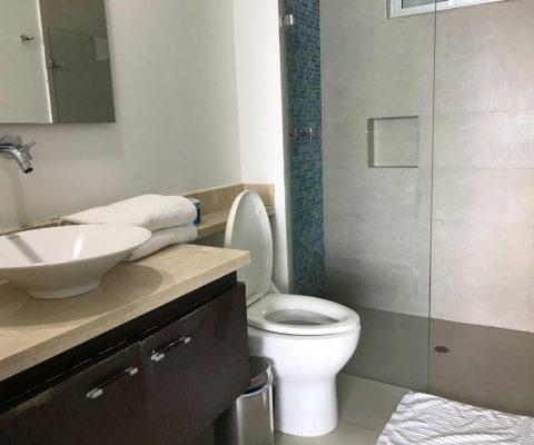 baño enchapado con separador en vidrio para la ducha y mosaico en tonalidades de azules de piso a techo