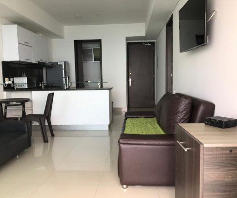 sala con dos muebles oscuros, televisor y mesa auxiliar en el fondo, comedor rimax color cafe