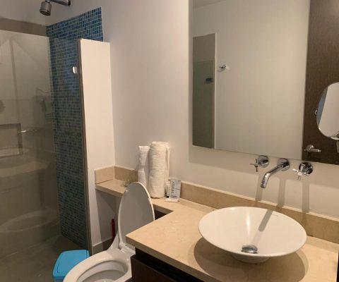 baño con division de ducha en vidrio y cenefa de colores azules y espejos